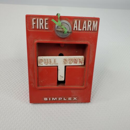 Vintage Simplex Fire Alarm Pull Down T Bar With Key