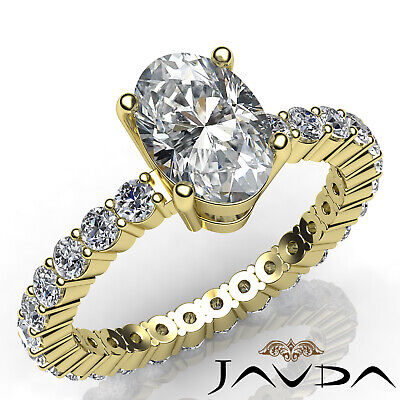 Shared Prong Oval Shape Natural Diamond Engagement Eternity Ring GIA F VS2 1.8Ct 6