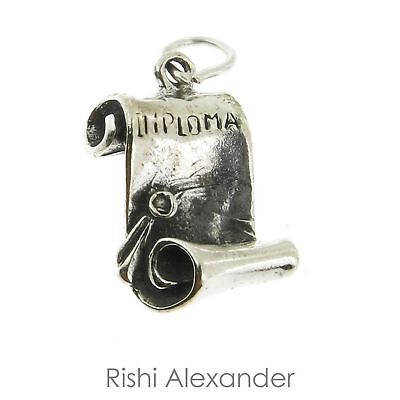 925 Sterling Silver Unrolled Diploma Graduation Charm Made in USA