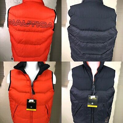 NEW Nautica Competition Mens Medium Reversible Down Puffer Vest