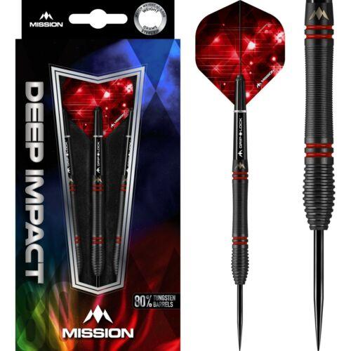 22 GRAM MISSION DEEP IMPACT M5 BLACK & RED  80%  TUNGSTEN STEEL TIP DARTS