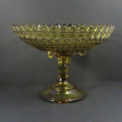"Adams 1000 Eye 7"" Tall Compote, Dark Amber Glass - Circa 1891"