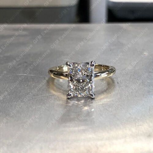 4.00 Tcw Radiant Cut Forever Moissanite Engagement Ring In Solid 14k Yellow Gold