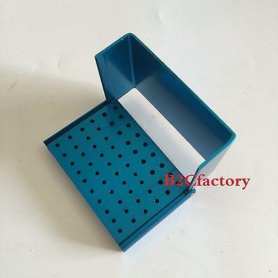 Dental Burs Holder 56-hole Autoclavable Polishing Brush Cup Block Blue 1pc
