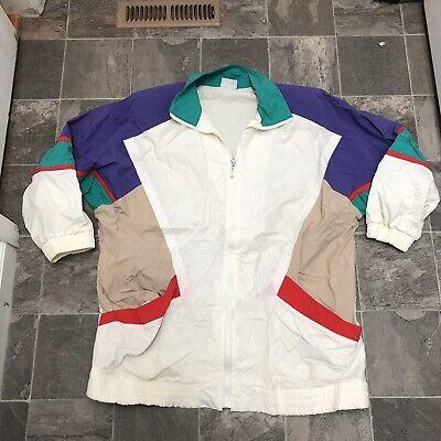 Women's Vintage 90s Full Zip Color Block Parka Length Windbreaker Jacket Sz L Colorblock-parka