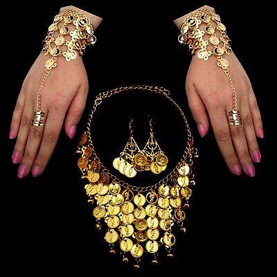 Danza Del Vientre Joya Mano de Esclavo, Cadena Pendientes Monedas Oro segunda mano  Embacar hacia Mexico