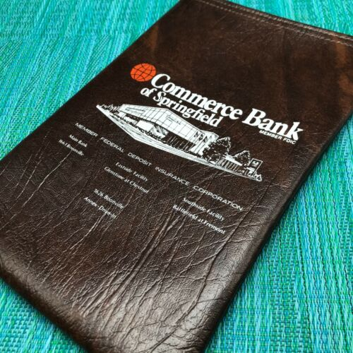Vtg Money Cash Deposit Bag Commerce Bank Springfield MO Dark Brown Metal Zipper