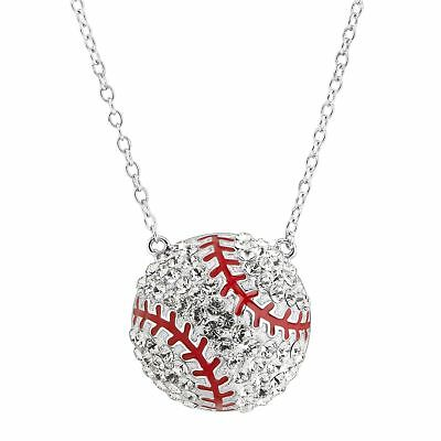 """Crystaluxe Baseball Necklace with Swarovski Crystals, Sterling Silver, 16"""" + 2"""""""