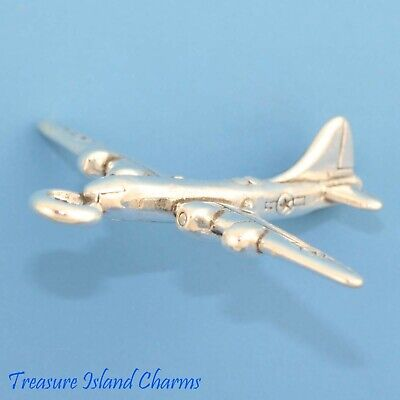 Airplane Bomber Boeing B-29 3D .925 Solid Sterling Silver Charm Military (Boeing B-29 Bomber)