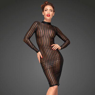 NOIR HANDMADE Transparentes Kleid Strefen Netzkleid Durchsichtig Mesh Dress F182