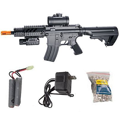 ASG DS4 M4 CQB AEG Automatic Electric 6mm Airsoft Rifle Starter Package 50051 Airsoft Gun Starter Package