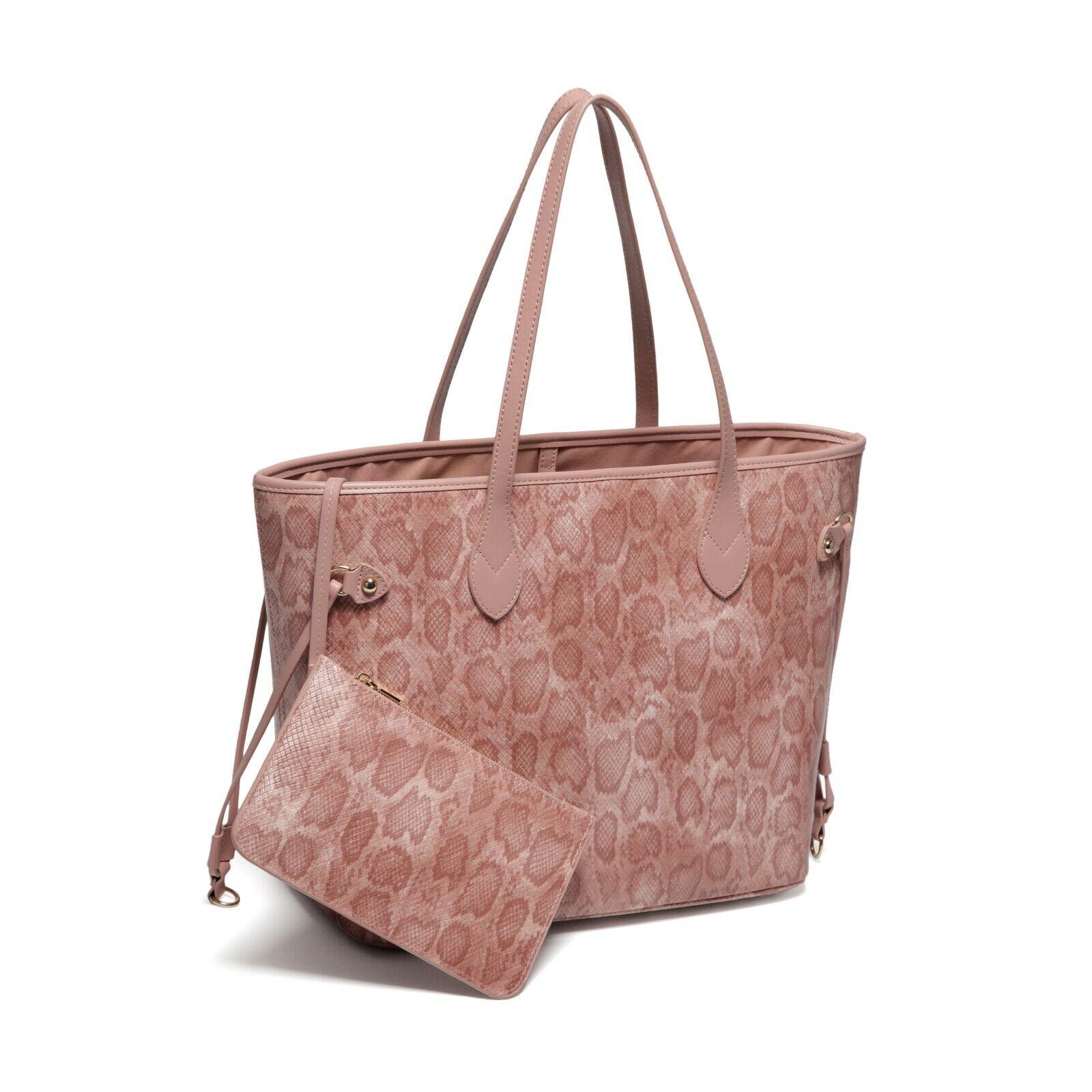 Vegan Leather Snake Skin Pink Shoulder Handbag Purse Bag Tot