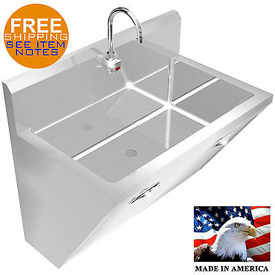 Surgeons Wash Up Hand Sink 1 Station 36 Stainless Steel Hands Free Made In Usa
