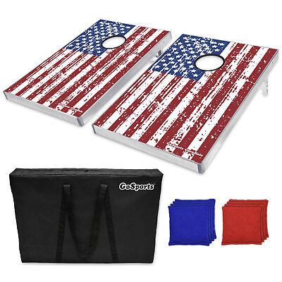 American Flag Bean Bag Toss Tailgate Cornhole Boards Game Foldable Set ()