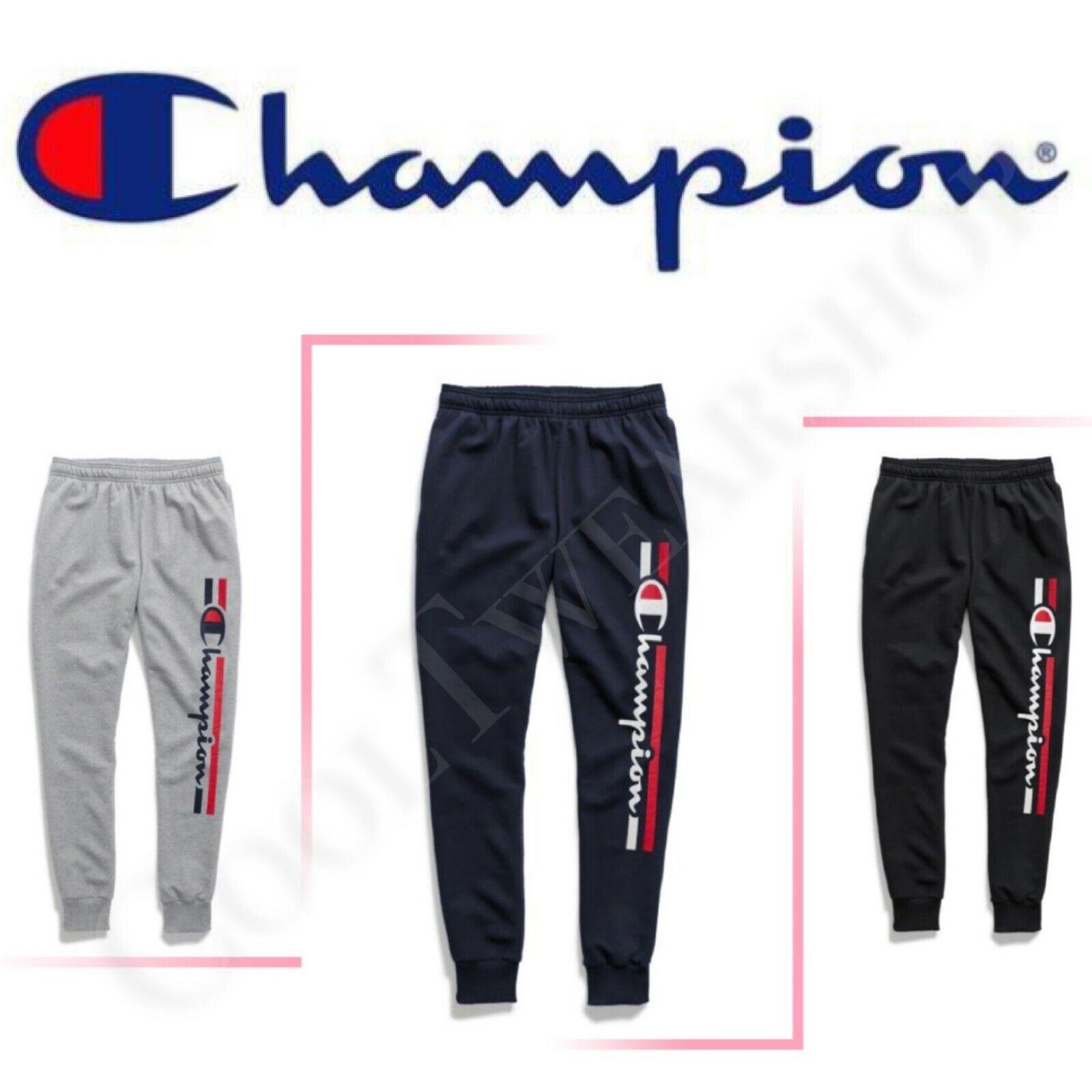 Champion Men's Powerblend Fleece Joggers, Verticle Logo W/St