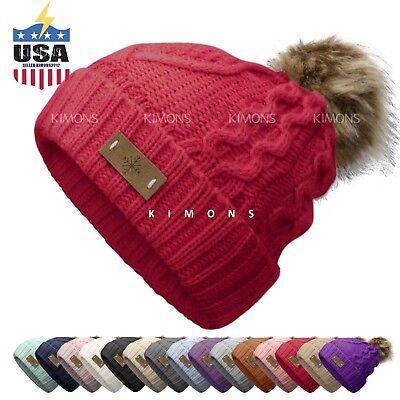 EP Pom pom Beanie Knit Slouchy Baggy Fleece Lined Winter Hat Ski Cap Skull Women
