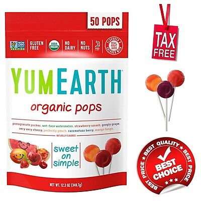 YumEarth 50-Count Assorted Flavors Organic Lollipops Vegan Gluten Free Candy - Gluten Free Assorted Flavors