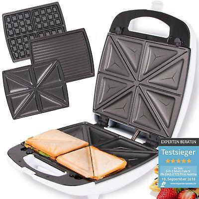 Sandwichmaker Sandwichtoaster Waffeleisen 3 in 1 elektro Tischgrill Kontaktgrill