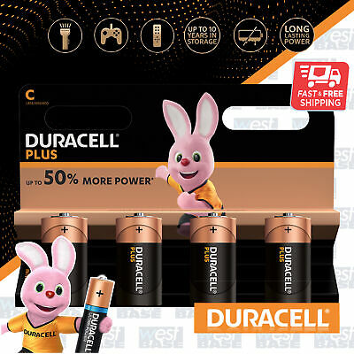 4x DURACELL C Plus Power Alkaline Batteries DURALOCK LR14 MN1400 Longest Expiry