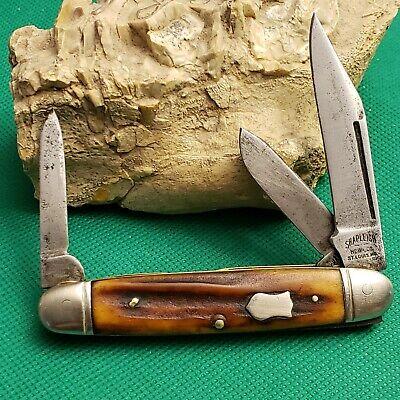 Old Vintage Shapleigh Hardware Co Bone Stag Cattle Folding Pocket Knife Knives