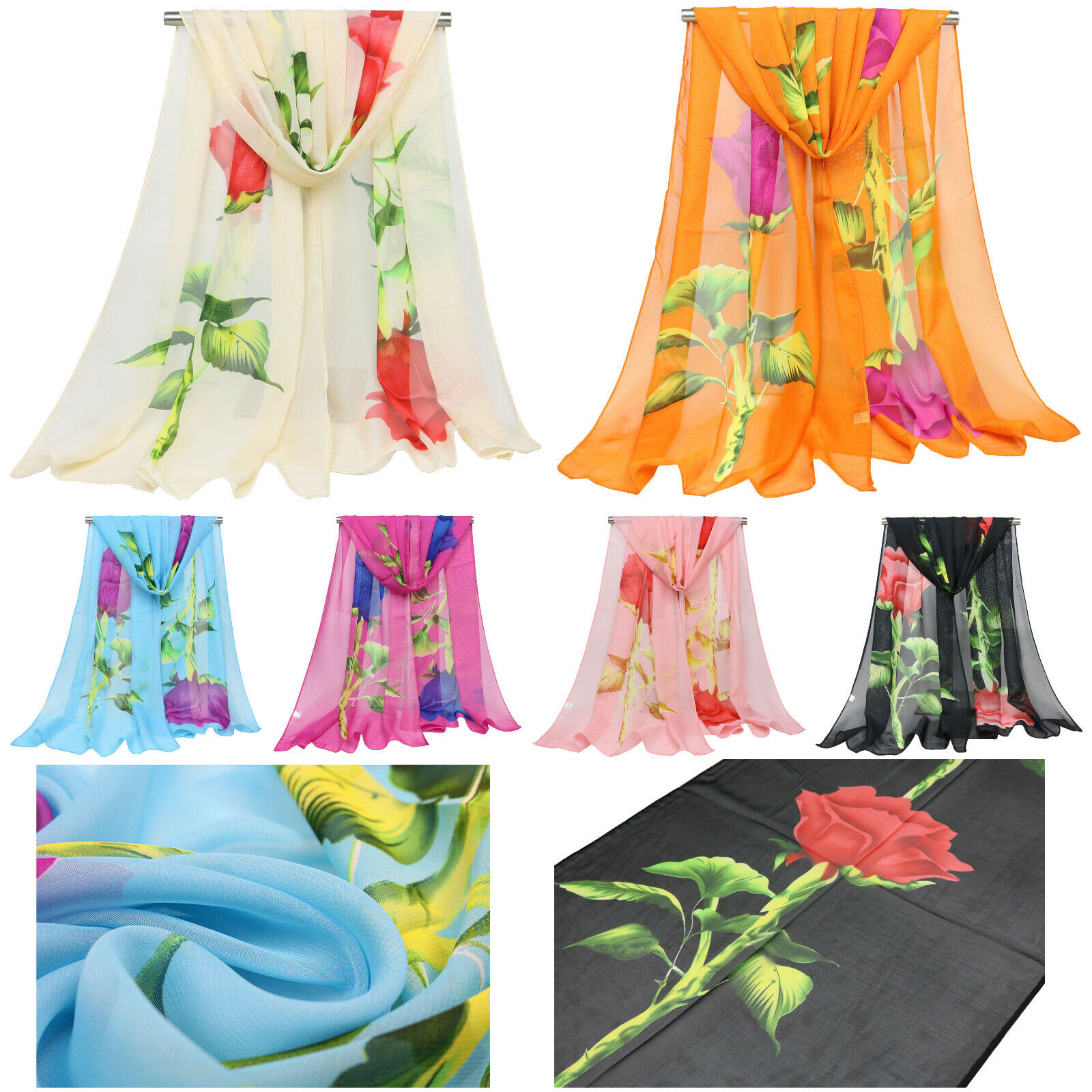 Women's Floral Flower Natural Dye Chiffon Lightweight Beach Wrap Fashion Scarf Clothing, Shoes & Accessories