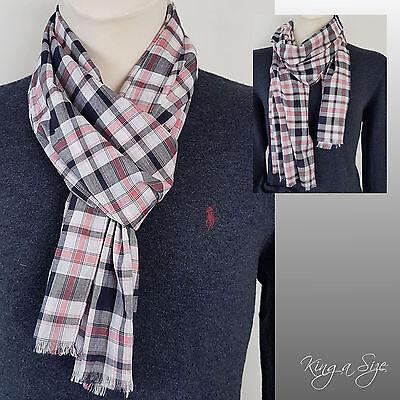 Leichte Herren Schal Loopschal men's scarf Herrenschal Karo weiß schwarz rot *