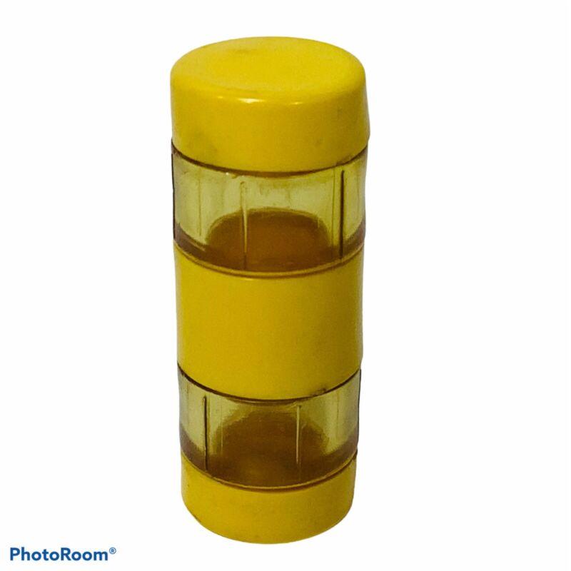 """Travel Salt Pepper Shaker Yellow Plastic 2.25"""" Tube Picnic Camping Lunchbox Vtg"""