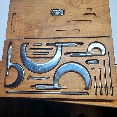 Tumico Tubular Micrometer Set W Stds Wrench Case 5 Mics Tool Usa