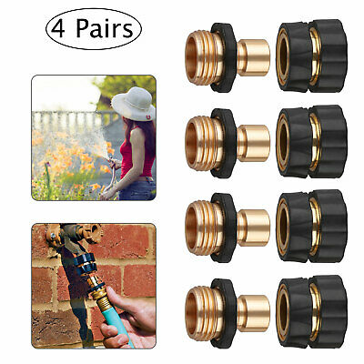 4 Pairs Universal Garden Hose Quick Connect Set Brass Hose Tap Adapter Connector