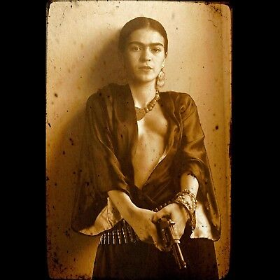 Frida Kahlo Mexican with Gun Vintage poster art home decor photo print 24