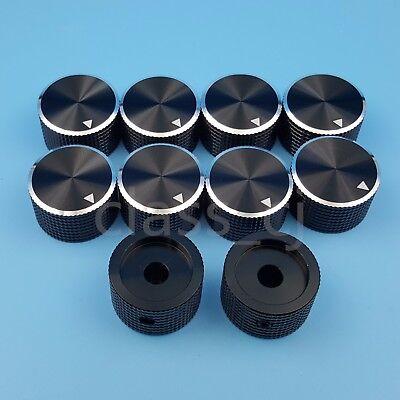 10pcs 6.4mm 14 Black Aluminum 25 X 15.5mm Amplifier Audio Volume Rotary Knob