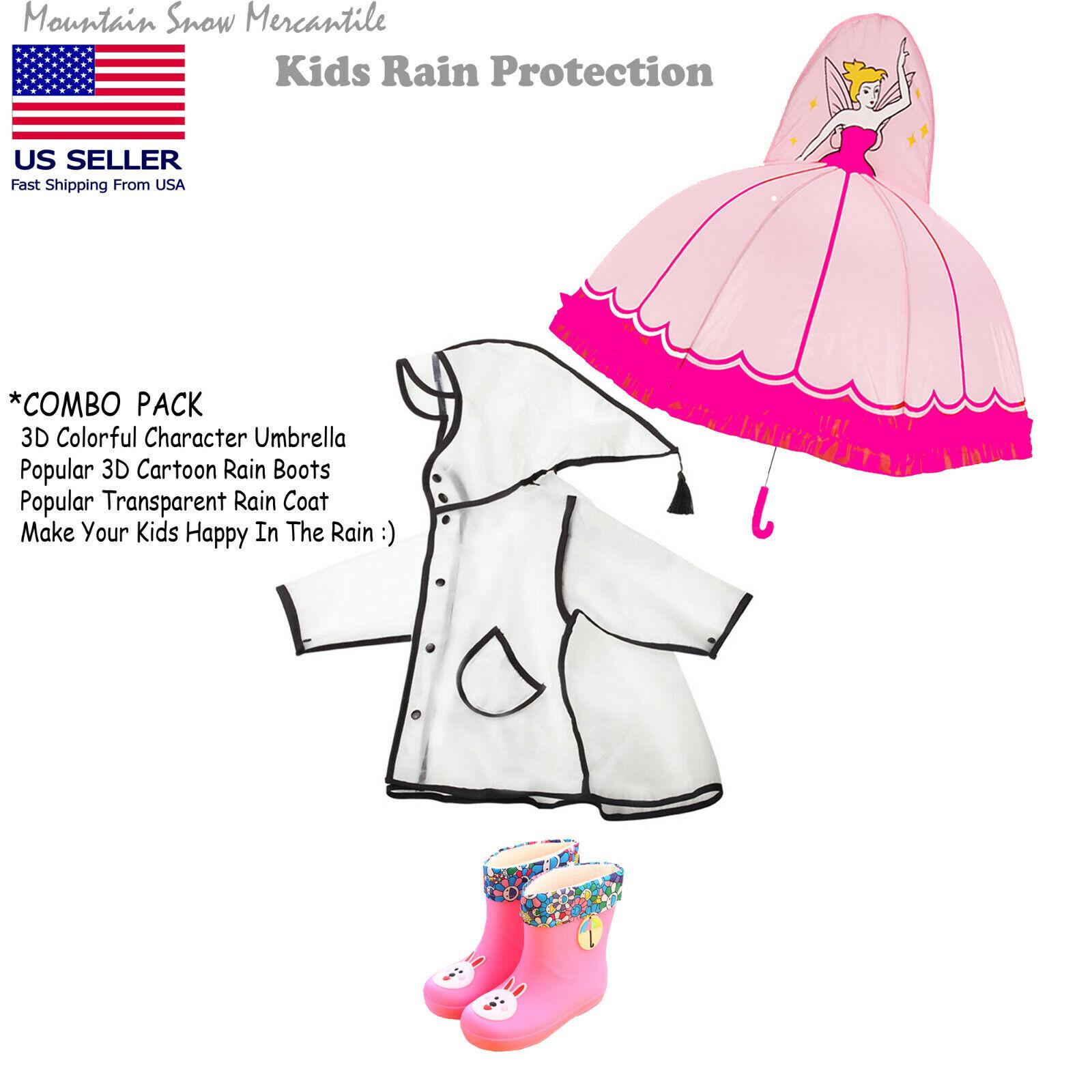 Raincoat+3D Fairy Umbrella+Pink Rain Boots Combo Pack For Ch