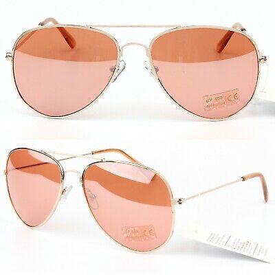 Womens Pilot Gold Frame Rose Gold / Bronze Transparent Cat.2 Lens Sunglasses