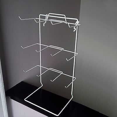 Single White 12 Peg Hook Counter Top Display Rack Holds 3 X 5 Item