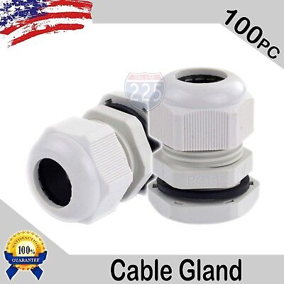 100 Pcs PG16 White Nylon Waterproof Cable Gland 10-14mm Dia w/ Lock-Nut & Gasket