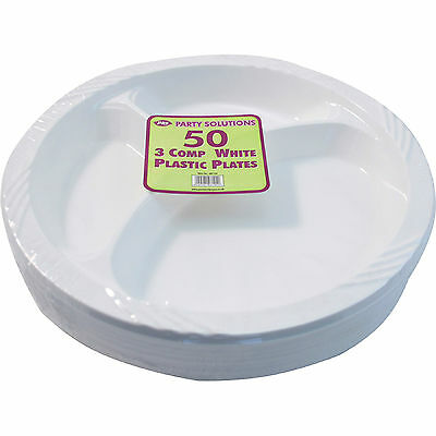 """50 x PLASTIC PLATES 3 COMPARTMENT 10"""" 26cm DISPOSABLE PARTY CATERING PLATE WHITE"""
