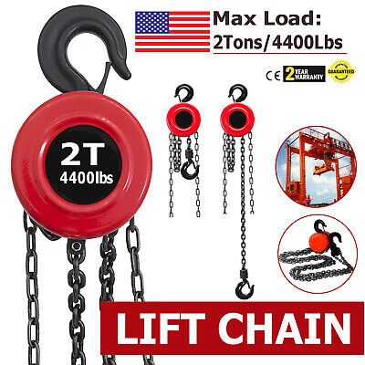 Us 2 Ton Chain Puller Block Fall Chain Lift Hoist Hand Tools Chain With Hook Red