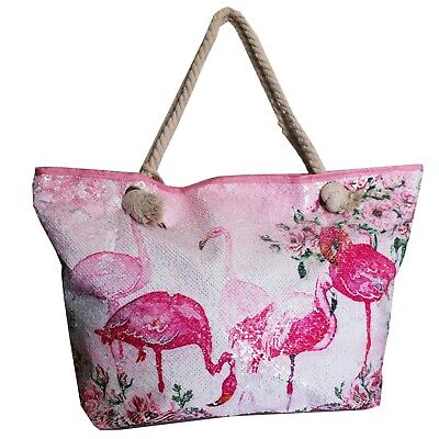 Tasche Playa Flamingo mit Pailletten Glitzer Rosa Groß Vogel Meer Glanz
