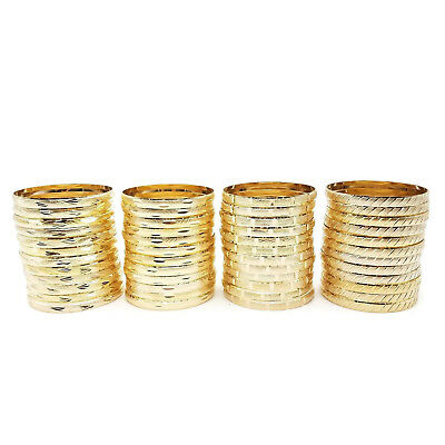 24k Gold Plated Bracelet (22k 24k Real Gold Plated 4 Pcs Look Slim Sleek Indian Bridal Bangle Bracelet Set )
