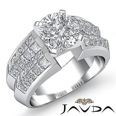 4 Prong Trellis Invisible Set Cushion Diamond Engagement Ring GIA G VS2 2.72 Ct