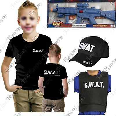 Childs SWAT T-Shirt Vest Cap Team Commander Cop Kids Police Officer Fancy Dress