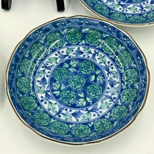 Blue Green Tidbit Plates Set Of 5 Vintage Juzan Hasami  Japan  Sadek Import