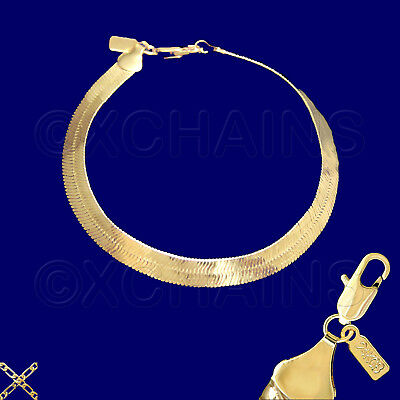 24k Gold Plated Bracelet (NEW 24K HEAVY GOLD PLATED 8mm HERRINGBONE CHAIN 8