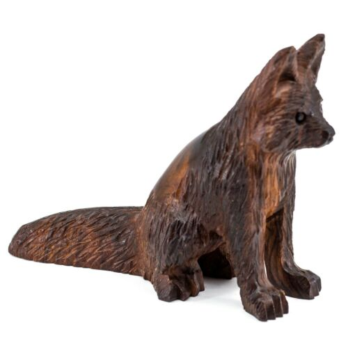 "Unique Hand Carved Ironwood Sitting Fox Figurine Wood Carving 5.25"" Long"