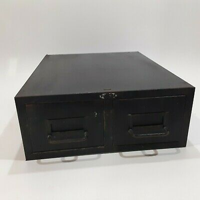 Vintage Cole Steel Two Drawer Index Card Stackable Metal File Cabinet 16 X 12