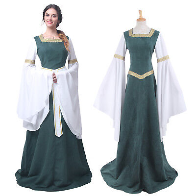 Medieval Renaissance Bell Sleeve Celtic Queen Dress Party Gown Cosplay - Medieval Queen Dress