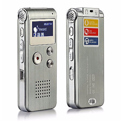 8Gb Rechargeable Digital Sound Recorder Voice Steel Dictaphone Mp3 Player Record