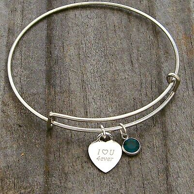 Adult Child Bangle Charm Bracelet Love You Sterling Silver Charm with Birthstone Birthstone Kid Sterling Silver Charm