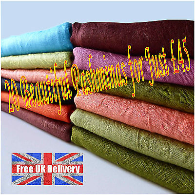 20 Pashminas Shawl Scarf 20 in Assorted Colours Beautiful Patterns Joblot Bulk](Scarves In Bulk)