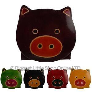 New-Kids-Ninos-Ninas-Cuero-Lindo-cerdo-Monedero-Regalo-Artesanal-de-comercio-justo